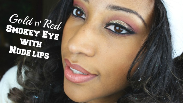 Christmas Inspired Makeup Tutorial 2014: Gold Glitter n' Red Smokey Eye l Nude Lip